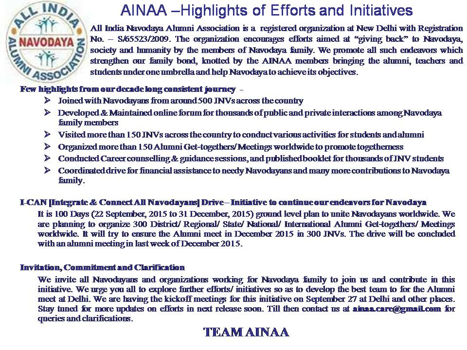 AINAA - Highlights and Initiative